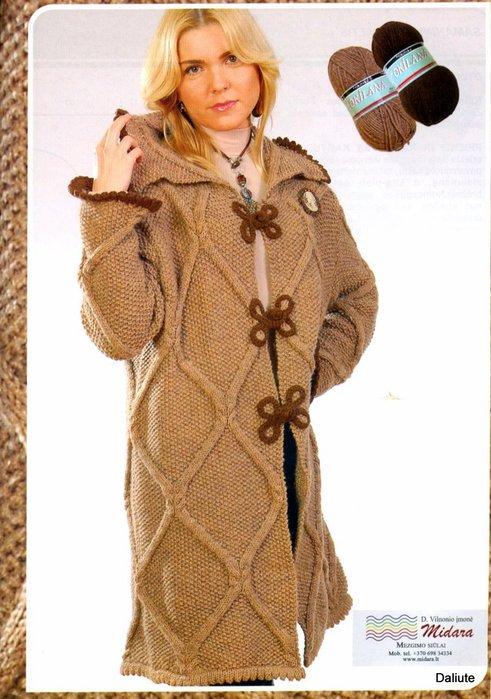 Вязанное пальто с рисунком