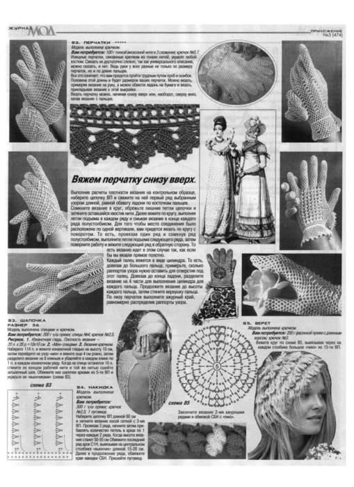 Схемы ажурных перчаток вязание крючком 66