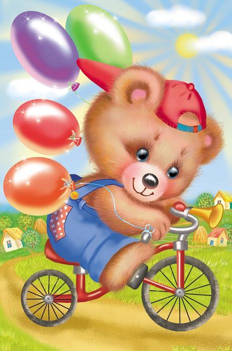 Мишка на велосипеде с воздушными шариками.