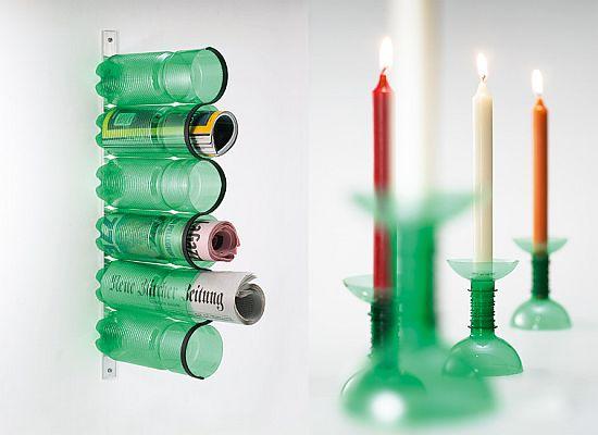 Поделки из пластиковых бутылок подставки и подсвечники.