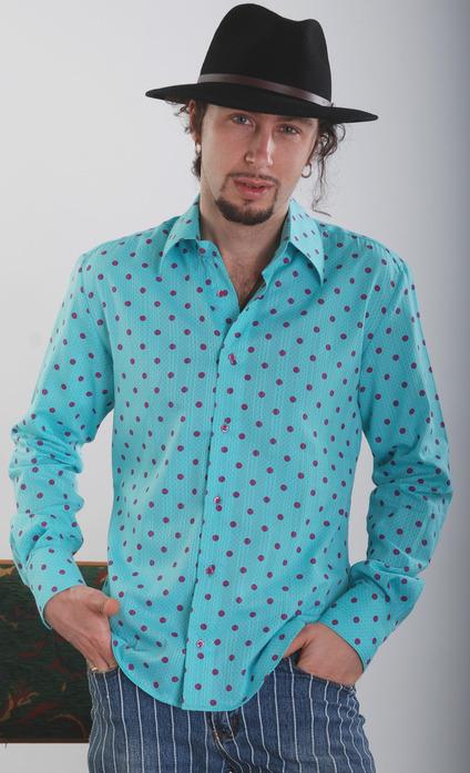 Рубашка в горошек мужская 5