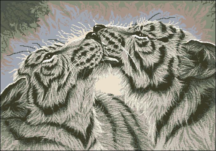 Вышивка крестом.  Кошки. тигры.