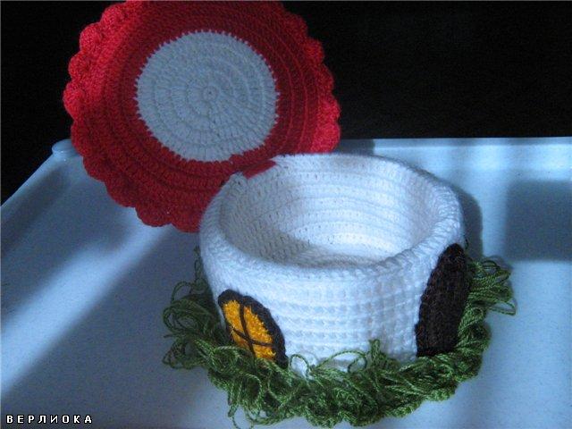 домик-гриб, шкатулка, вязание крючком.