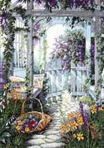 Красивый сад.  Вышивка крестом, схемы.