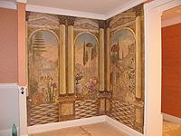 Роспись стен в гостиной.  Античный стиль.