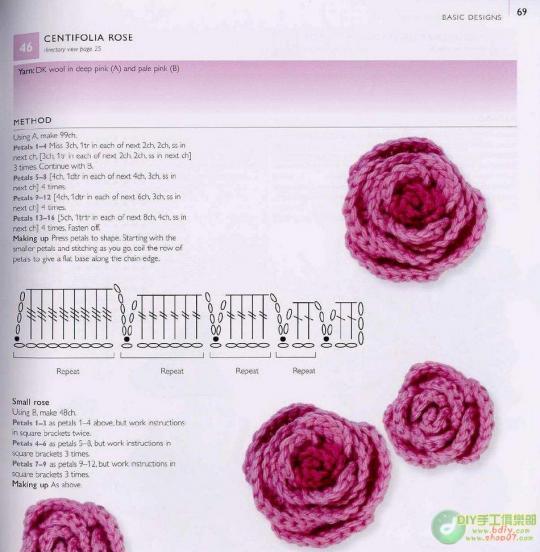Розы крючком схемы вязания.