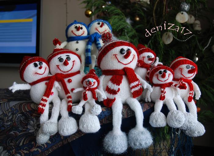 Вязанные снеговики своими руками