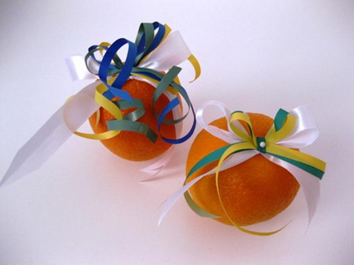Новогодний подарок из апельсина - Новогодний декор из апельсинов и мандаринов