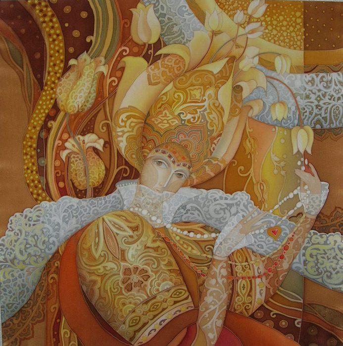 """Я люблю  """"холодный батик """", этой техникой можно сделать тончайший рисунок.  Любовь Тощева -лауреат Малютинской премии..."""