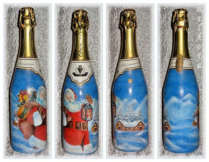 Бутылки шампанского своими руками декупаж мастер класс