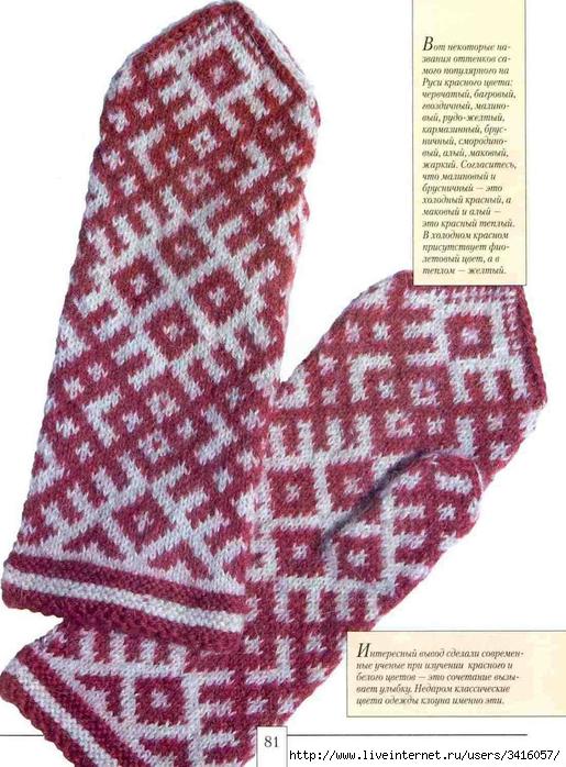 Схемы вязания орнаментов для варежек спицами