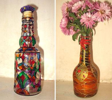 Craft room ideas glass bottle craftsehow for Bottle decoration ideas kids