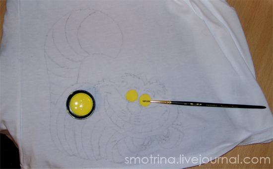 На нашем рисунке сначала наносим лимонную краску