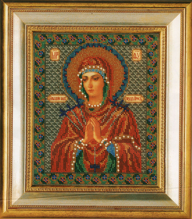 """Вышивка бисером : Иконы из бисера : Набор для изготовления иконы из бисера  """"Богородица Умягчение Злых Сердец."""