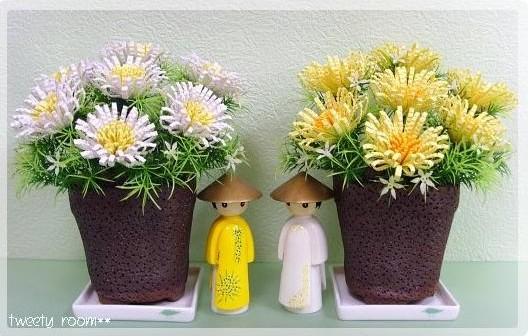 Делаем цветы в горшках.