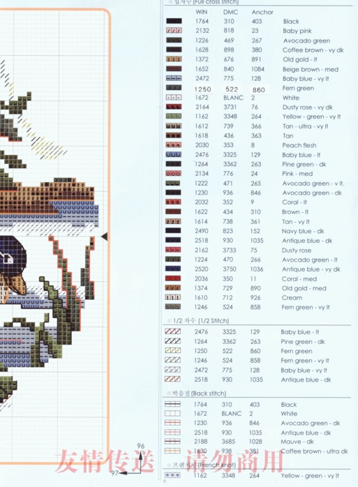 colors of the east : cross stitching charts