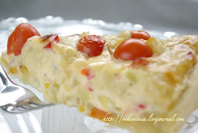 Пирог с кабачками и плавленным сыром