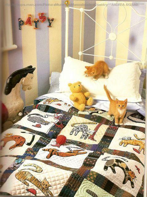 Любителям кошек. Плед с аппликацией в технике пэчворк