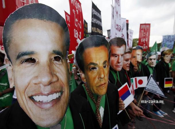 Активисты в масках, Бангкок, 5 октября 2009