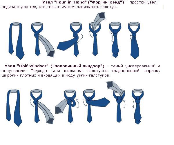 как завязать галстук в картинках: