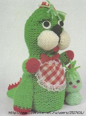 Дракон мама и маленький дракончик, вязаная игрушка, вязание спицами