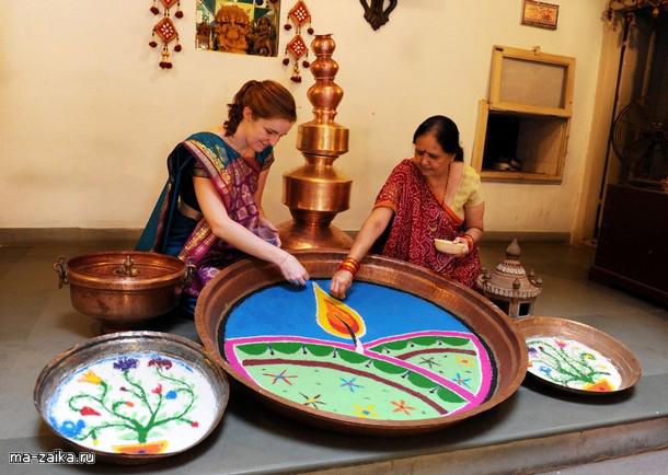 Ранголи - индийское искусство цветных порошков