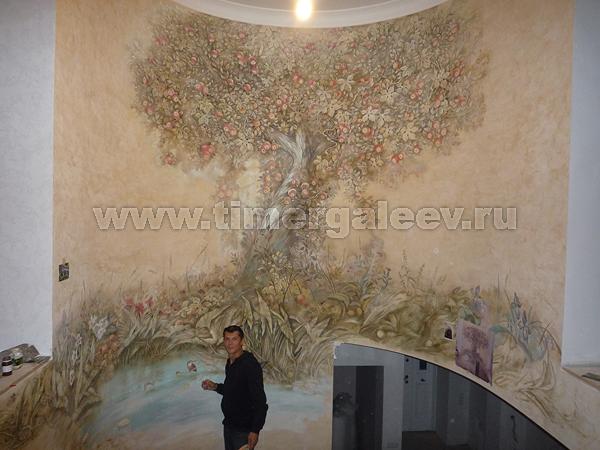 настенная фреска выполненная вручную