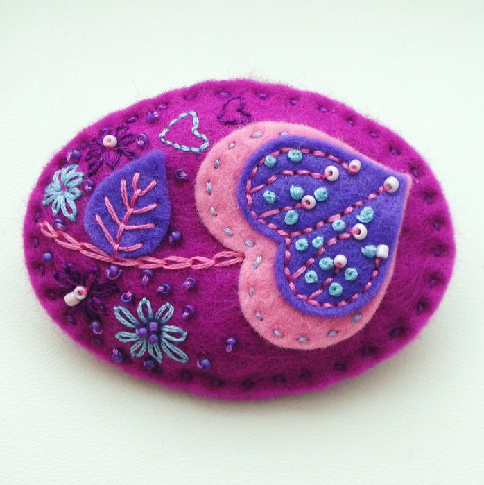bead and felt brooch