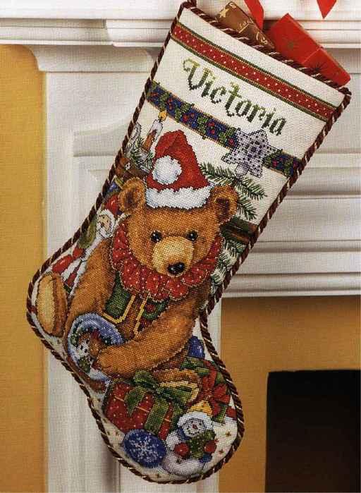 Вышивка новогодний носок