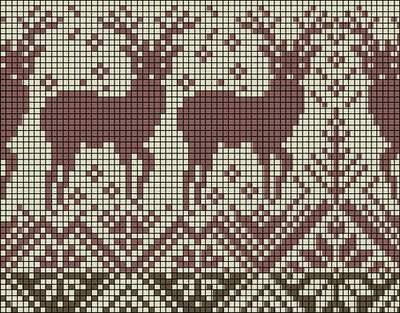Жаккардовые узоры с оленями