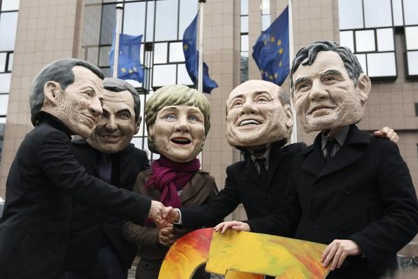 Oxfam климатические активисты в Брюсселе, Бельгия, 23 ноября 2009