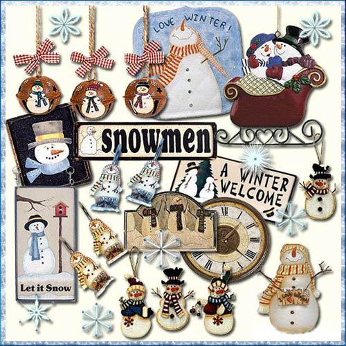 Скрап набор снеговик 2