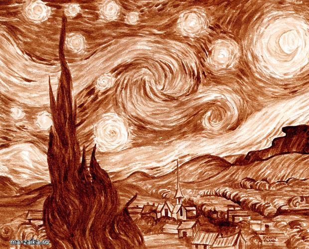 Кофе Creations: известные картины воссозданы с помощью эспрессо Карен Эланд.