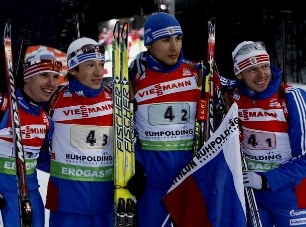 Мужская сборная по биатлону одержала победу на этапе Кубка мира, Рупольдинг, 17 января 2010 года.