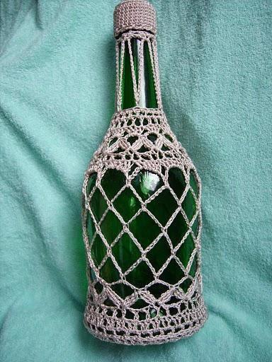 Декор бутылок крючком.