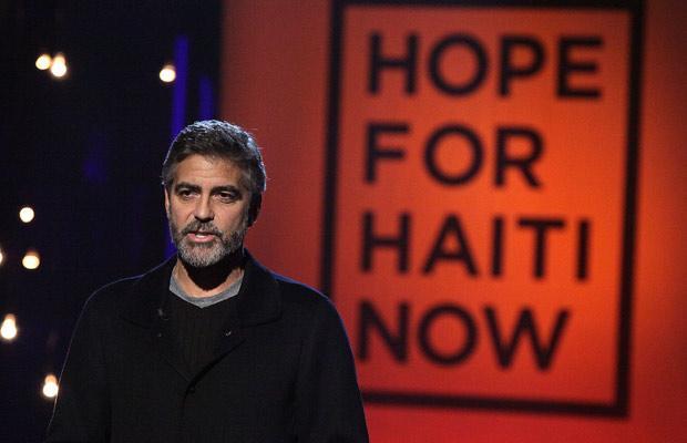 Звездный марафон в помощь пострадавшим от землетряения на Гаити. Джордж Клуни.