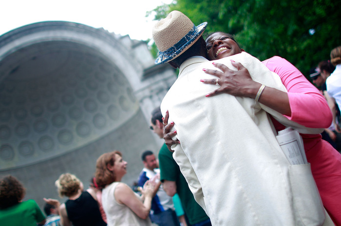 Tommy Tucker and Sarina Robinson swing dance in Central Park to honor legendary Lindy Hop dancer Frankie Manning May 22, 2009 in New York City. More than 2,000 Lindy Hoppers from around the world gathered in New York to celebrate Manning's life and mark what would have been his 95th birthday as he passed away prior this year on April 27. (Mario Tama/Getty Images) #
