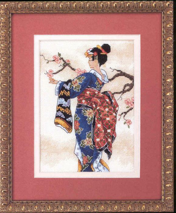 Схема вышивки гейша на