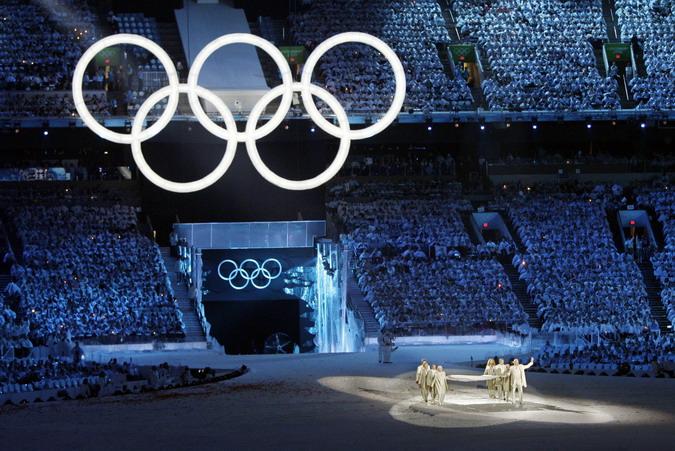 Церемония открытия зимних олимпийских игр в Ванкувере, Канада, 13 февраля 2010 года.