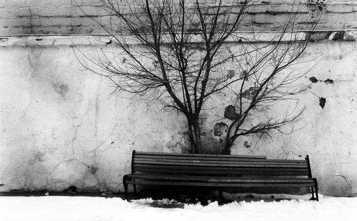 скамейка, черно-белое, индастриал