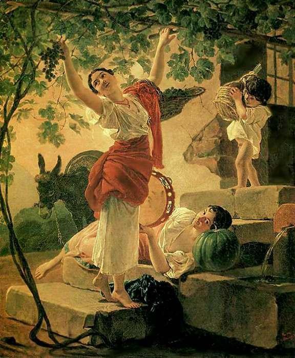 Девушка собирающая виноград.