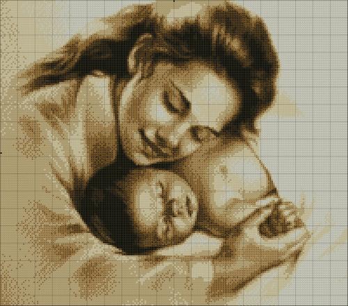 Схема вышивки мама и малыш
