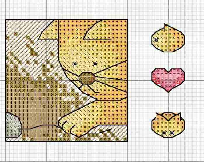 схема вышивки кота