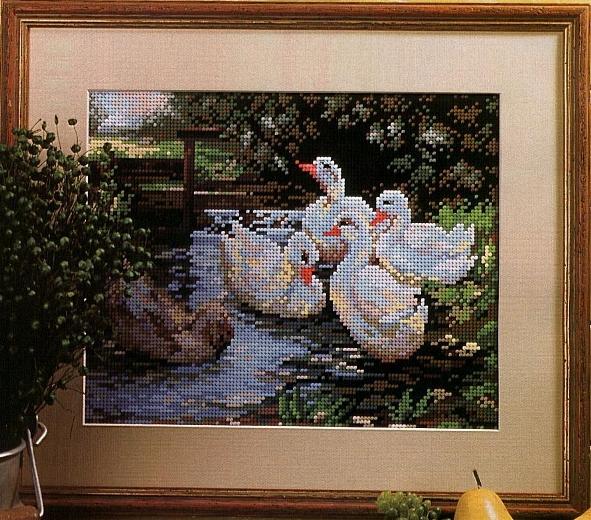 "Схема вышивки ""Гуси-лебеди""."