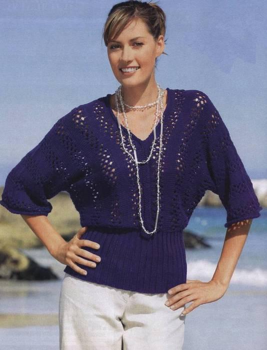 Синий ажурный пуловер с