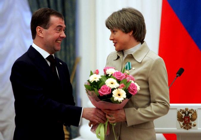 Церемония награждения государственными наградами победителей и призеров зимних Олимпийских игр 2010 в Ванкувере, Кремль, Москва, 15 марта 2010 года.