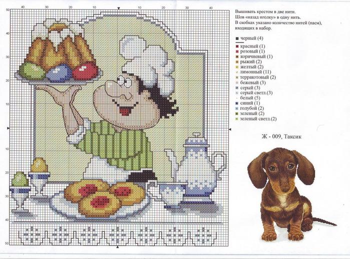 Забавный повар - схемы вышивок