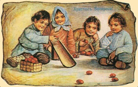 катание яиц на пасху картинка