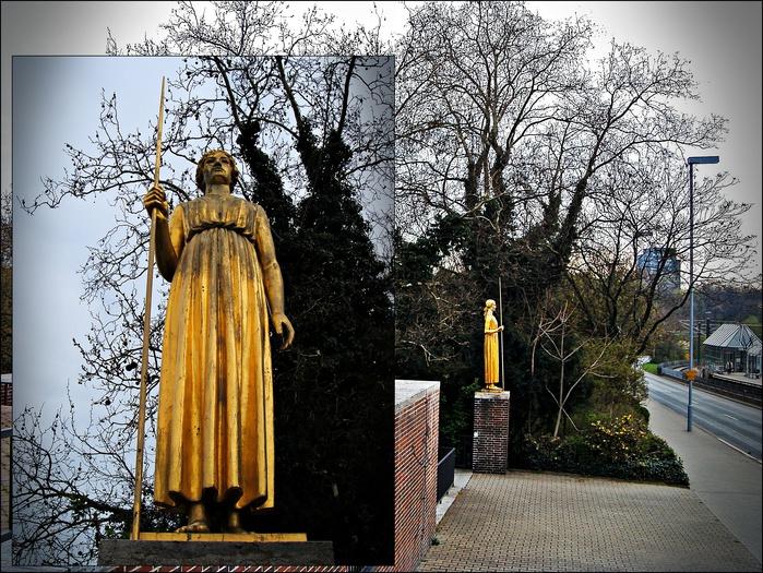 Йоаннес Кнубель (Johannes Knubel). 1877 - 1949.  Это его произведение - позолоченная бронза, 1926 год - Афина Паллада в парке Хофгартен Дюссельдорфа