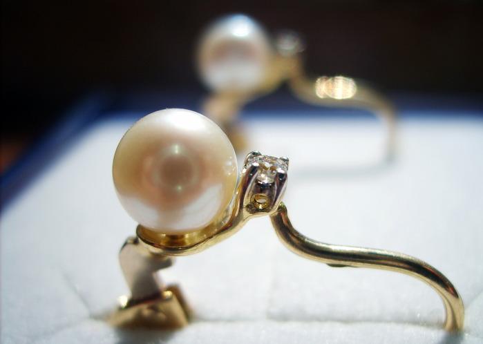 серёжки. бриллианты, жемчуг